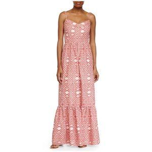 BETSY JOHNSON Coral Printed Maxi Dress